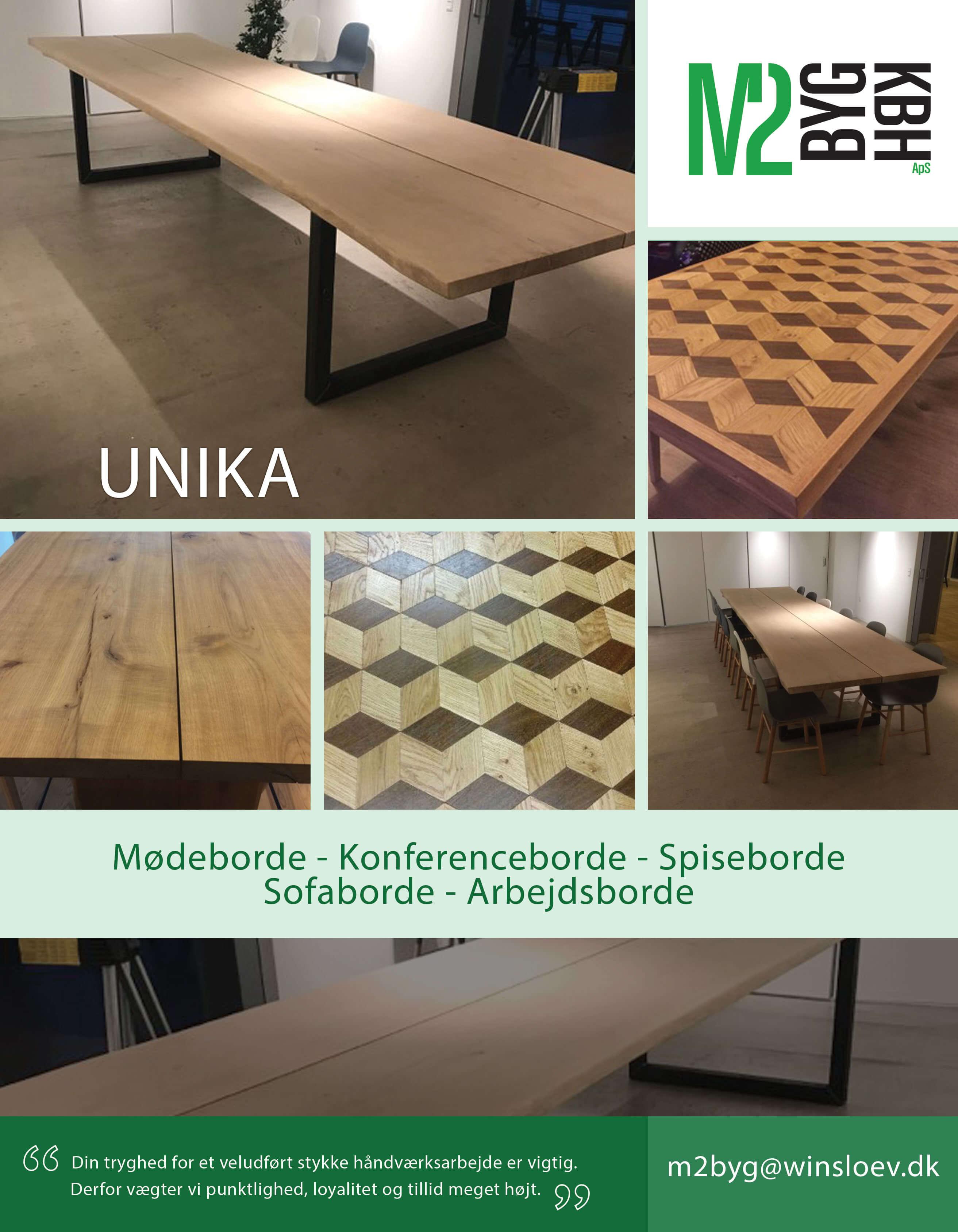 Special byggede borde, Håndlavede borde, Mødeborde, Konferenceborde, Spiseborde, Sofaborde, Arbejdsborde